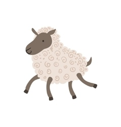 Grey Sheep With White Wool Walking vector image