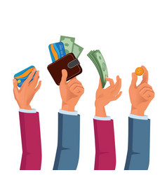 hands male and female holding dollars and coins vector image