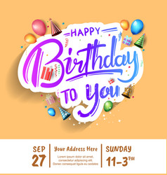 Happy birthday design with colorful text isolated vector