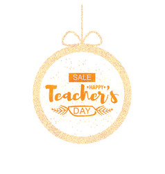 happy teacher s day greeting card frame with the vector image