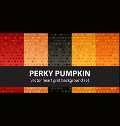 Heart pattern set perky pumpkin seamless vector
