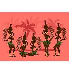 Isolated icons african tribal girls vector