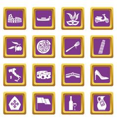 Italia icons set purple vector