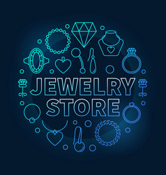 Jewelry store blue round on vector