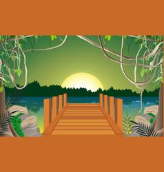 landscape morning in jungle vector image