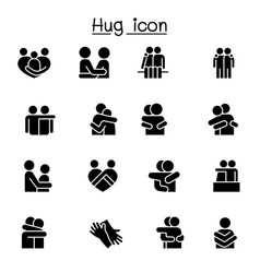 Lover hug friendship relationship icon set vector