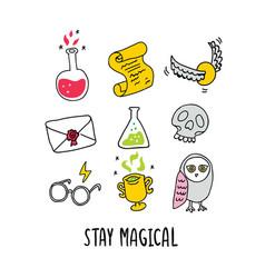 Magic set - potion letter glasses skull vector