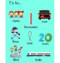 Many words starts with letter T vector