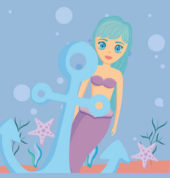 Mermaid and anchor design vector
