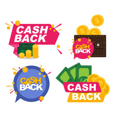 Money cashback icon cillection set with gold vector