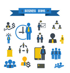 Multicolored icons with tape on topic business vector