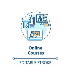 Online courses concept icon vector