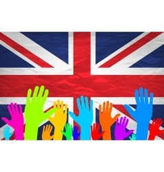 Open hand raised multi purpose concept uk united vector
