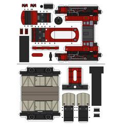 paper model a vintage steam train vector image