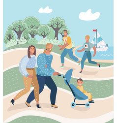 parents and child in park couple running resting vector image