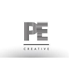 Pe p e black and white lines letter logo design vector