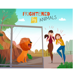 People frightened by animals vector