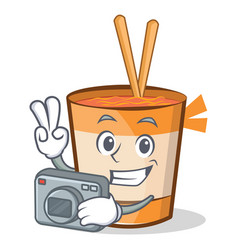Photography cup noodles character cartoon vector