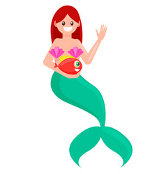 Red hair mermaid with fish vector