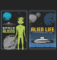 Retro poster with alien and ufo spaceship in space vector