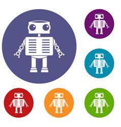 Robot with big eyes icons set vector