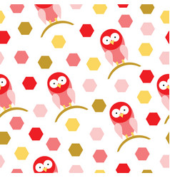 seamless pattern with red birds cartoon vector image