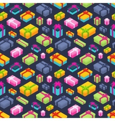 Seamless pattern with the isometric colored gift vector image
