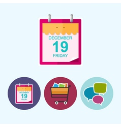 Set icons with calendar leafcart speech bubble vector image