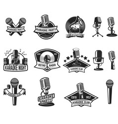 Set karaoke party labels vintage microphone vector