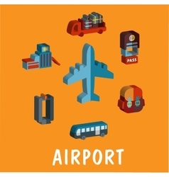 Set of colored volume airport icons vector