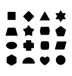 Set of geometric rounded kid toys shapes Black on vector image