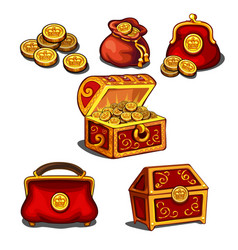 set of wallets bags and a chest full of gold vector image
