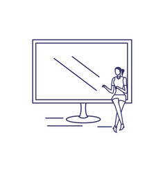 silhouette woman with computer screen in white vector image