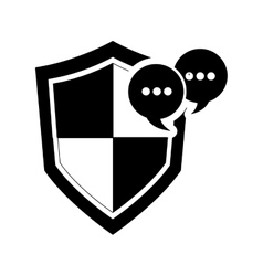 single shield and conversation bubble icon vector image
