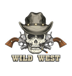 Skull in cowboy hat with two revolvers vector