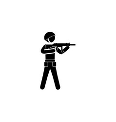 soldier with a gun icon black on white background vector image