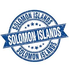 Solomon Islands blue round grunge vintage ribbon vector