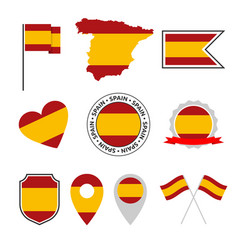 spain flag icons set spanish flag symbol vector image