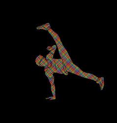 Street dance b boys dance hip hop dancing action vector