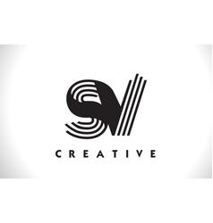 Sv logo letter with black lines design line letter vector