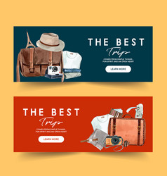 Tourism day banner design with clothing vector