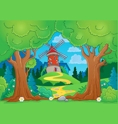 tree theme with windmill 1 vector image