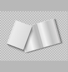 two realistic books with blank hard cover 3d open vector image