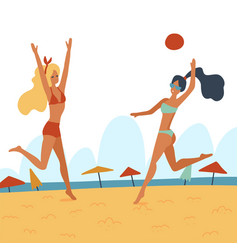 two young women playing volleyball on beach vector image