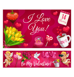 valentine day lettering and love symbols flowers vector image