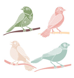 Vintage decorative birds vector