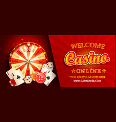 welcome online casino horizontal banner vector image
