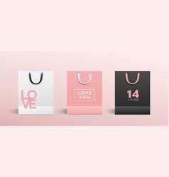 white paper bag pink paper bag black paper bag vector image