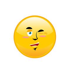 Winks emoji isolated happy yellow circle emotion vector