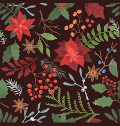 winter season botanical seamless pattern vector image